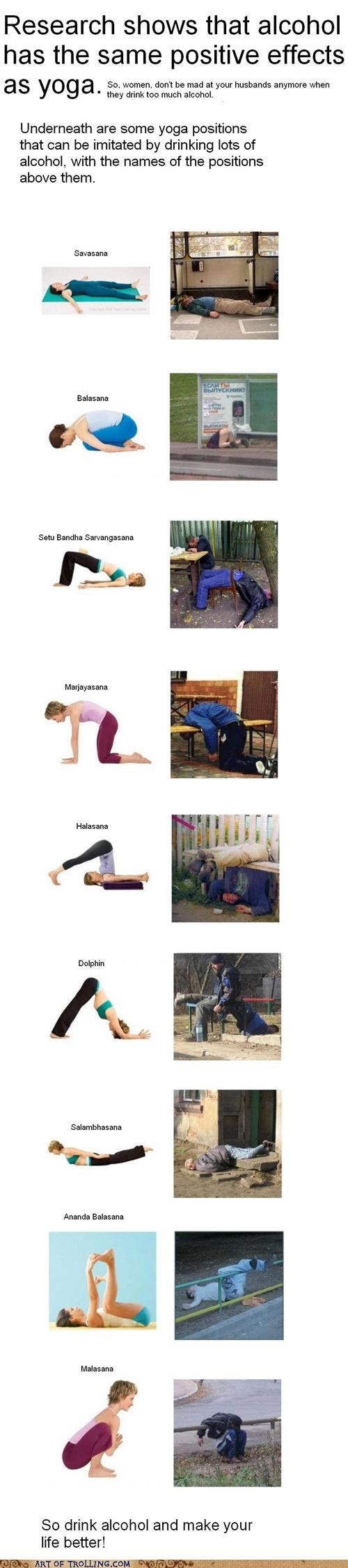 drinking,passed out,positions,yoga