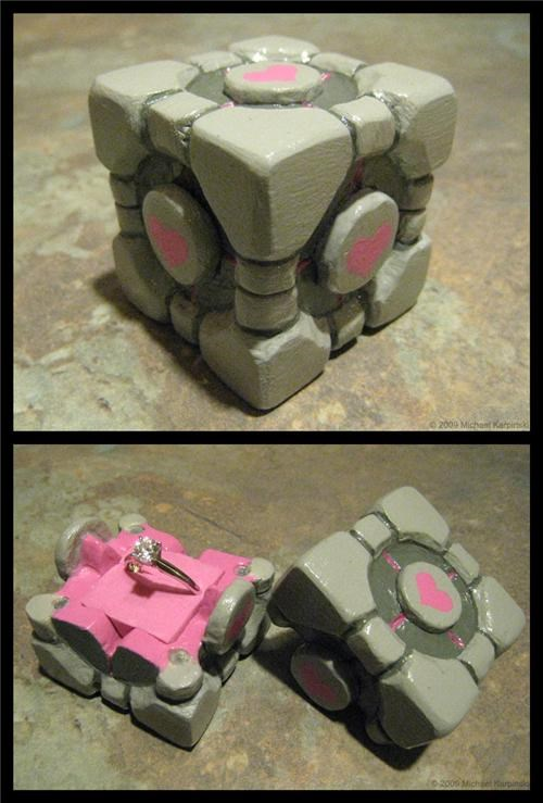 companion cube engagement IRL Portal proposal video games - 4825769728