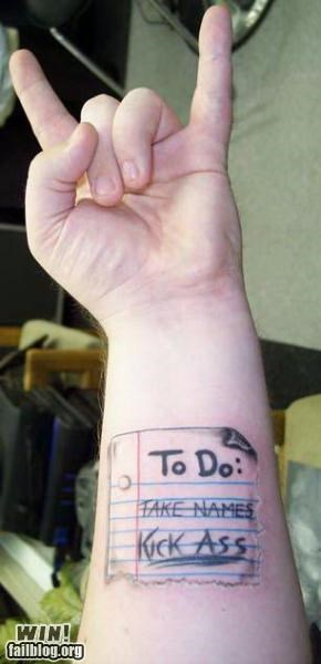 list,metal,notes,tattoo,to-do list