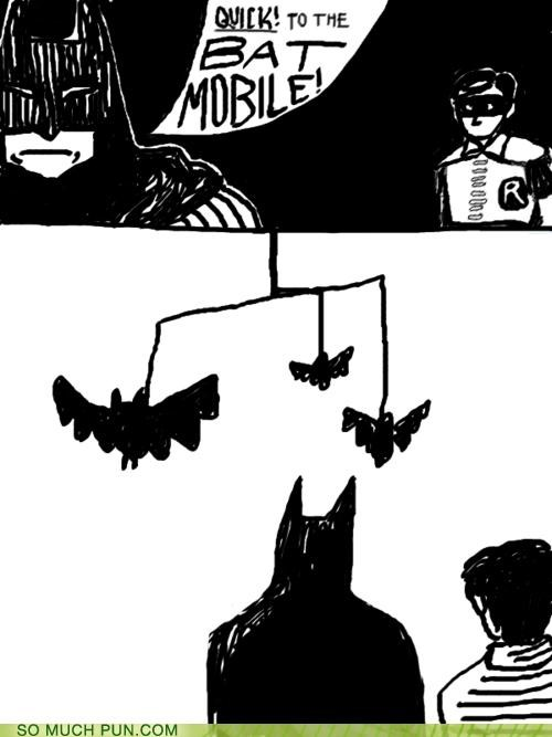 bat,batman,batmobile,comic,comic book,double meaning,Hall of Fame,literalism,mobile,robin