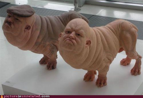 creepy dogs people pig wtf - 4826311936