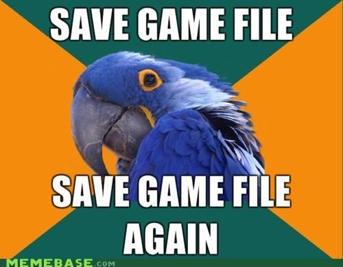 animemes file games overwrite Paranoid Parrot parrot save video games - 4826356224