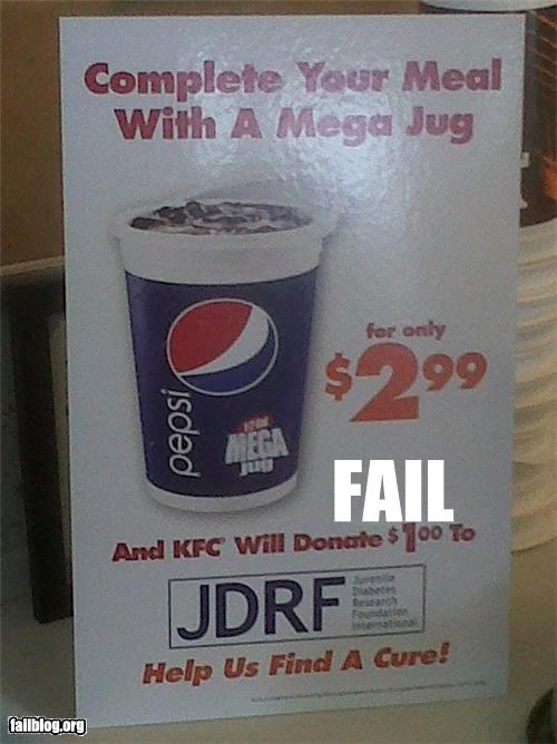 Ad charity conflict of interest diabates donation failboat fast food g rated kfc pepsi signs soda - 4826498560