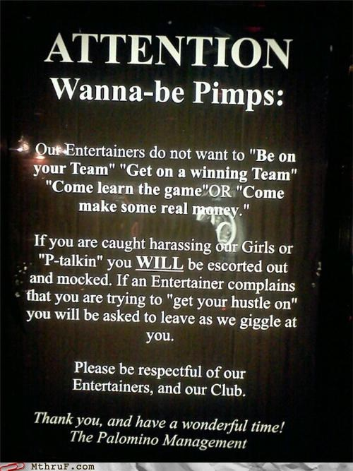 hiring prostitutions signs strippers