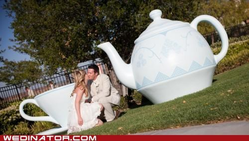 bride,funny wedding photos,groom,KISS,teapot
