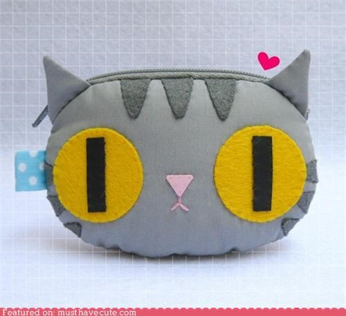 face grey handmade kitty pouch yellow - 4826861824