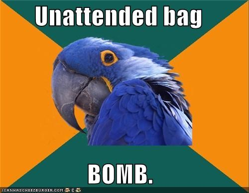 airport,bag,bomb,bus,Paranoid Parrot