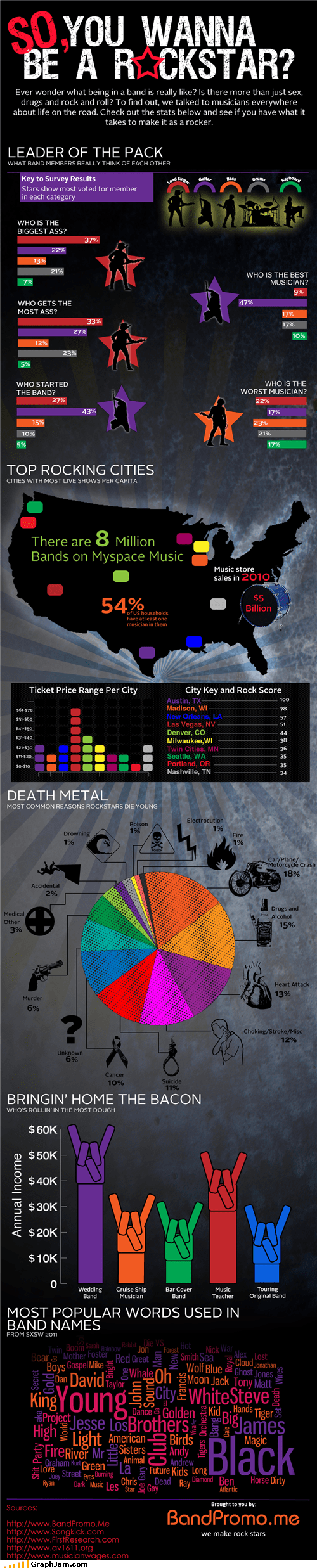 band infographic rock star rockstar Statistics