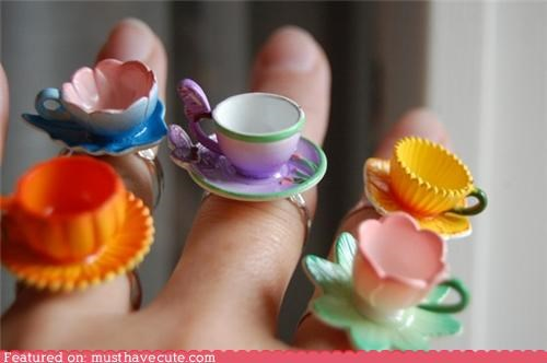 accessories flowers Jewelry ring teacups - 4827526912
