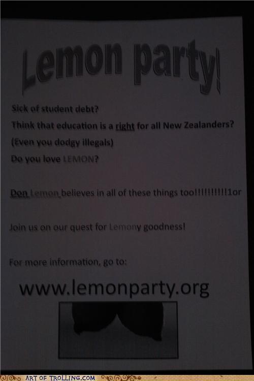 lemon party Party politics shock sites