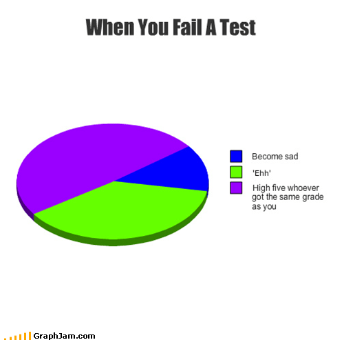 failing high five Pie Chart school tests