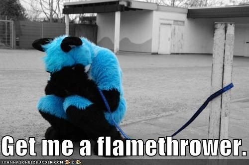 flamethrower,furry,leash,weird kid