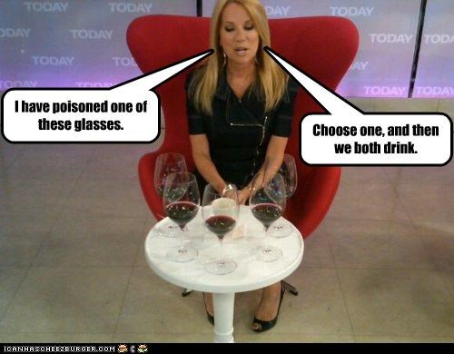 I have poisoned one of these glasses. Choose one, and then we both drink.