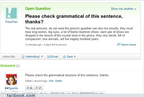 Funny Yahoo Answers fail for someone who asks 'to check my grammatical'
