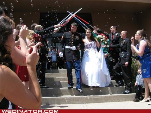 bride,funny wedding photos,geeks,groom,marines,star wars