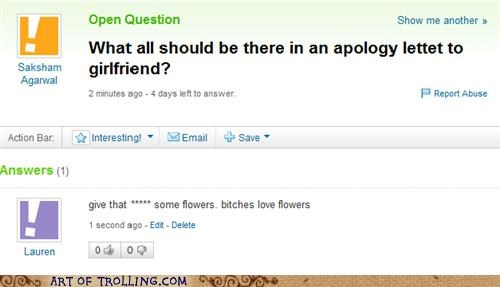 apology,flowers,girlfriend,Ladies Love,Yahoo Answer Fails