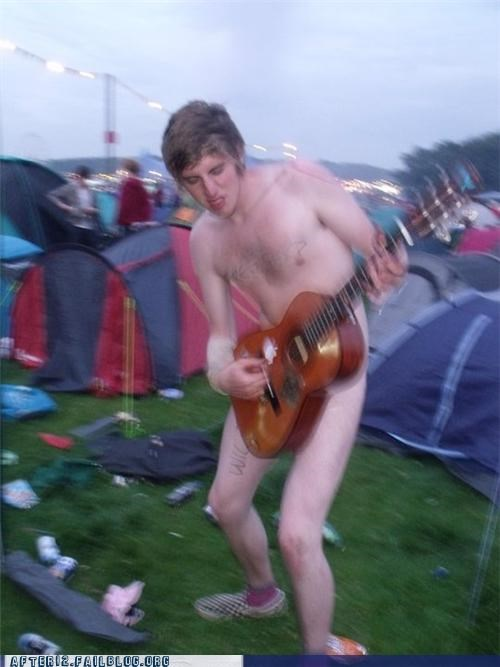 au natural camping guitar naked cowboy