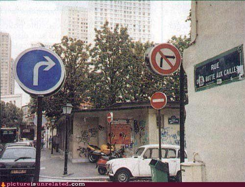 france,right turn,street signs,wtf