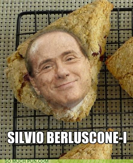 homophone,Italy,literalism,politician,politics,prime minister,scone,silvio berlusconi,similar sounding