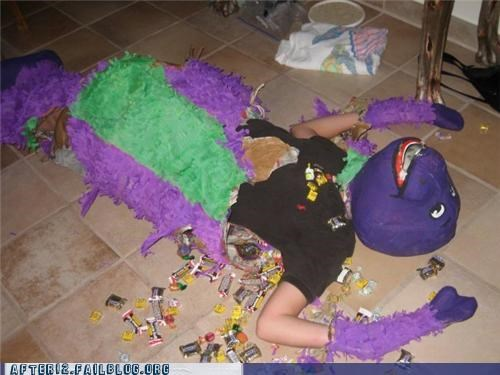 barney,candy,passed out,pinata