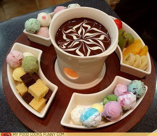 asian baskin robbins cake chocolate fondue fruit ic cream sweets
