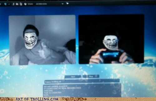 mask,troll face,video chat