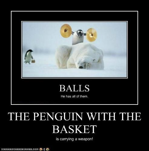 THE PENGUIN WITH THE BASKET is carrying a weapon!