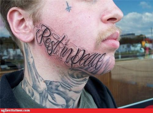 face tats,words