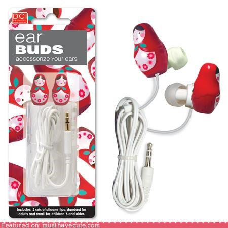 babushka cute doll ear buds headphones ladies russian - 4833162240