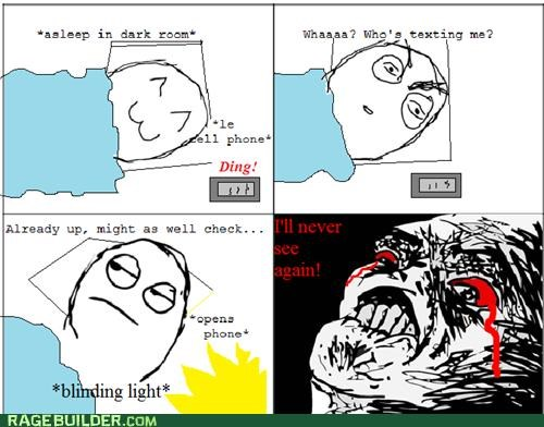 bleeding bright eyes light pain Rage Comics text - 4834078720