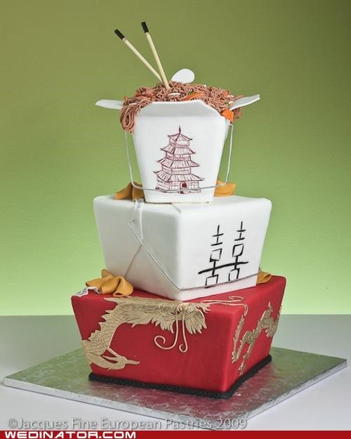 chinese take-out,funny wedding photos,wedding cake