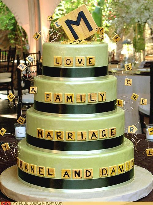 cake letters scrabble tiles wedding