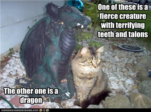 caption,captioned,cat,creature,dragon,fierce,one,other,statue,tabby,talons,teeth,Terrifying,these