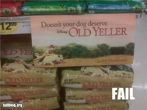 disney,dog food,dogs,failboat,g rated,old yeller,pets,product name