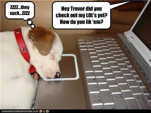 Hey Trevor did you check out my LOL's yet? How do you lik 'em? ZZZZ...they suck...ZZZZ