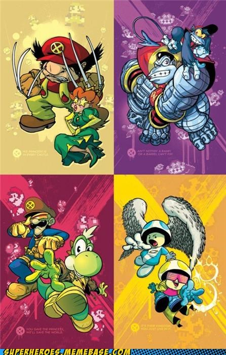 Awesome Art,colossus,cyclops,donkey kong,mario,mario bros,nintendo,wolverine,x men