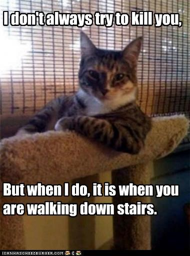I don't always try to kill you, But when I do, it is when you are walking down stairs.