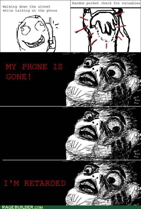 dumb FAIL lost phone Rage Comics - 4839206400