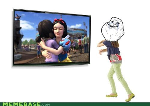 disneyland forever alone hugs kinect snow white video games - 4839254272