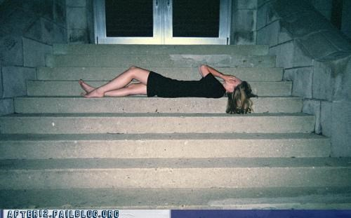 passed out,stairs