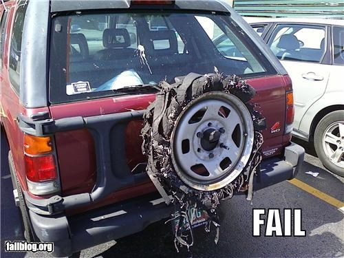 Spare Tire fail With a little duct tape, this could end up as a TIFI post.