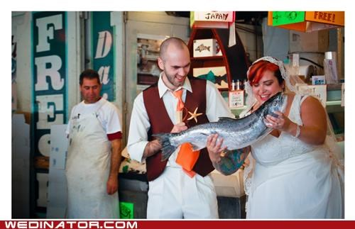 bride,fish,funny wedding photos,groom,seattle