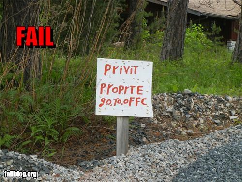 english failboat g rated literacy private signs spelling warning - 4841893632