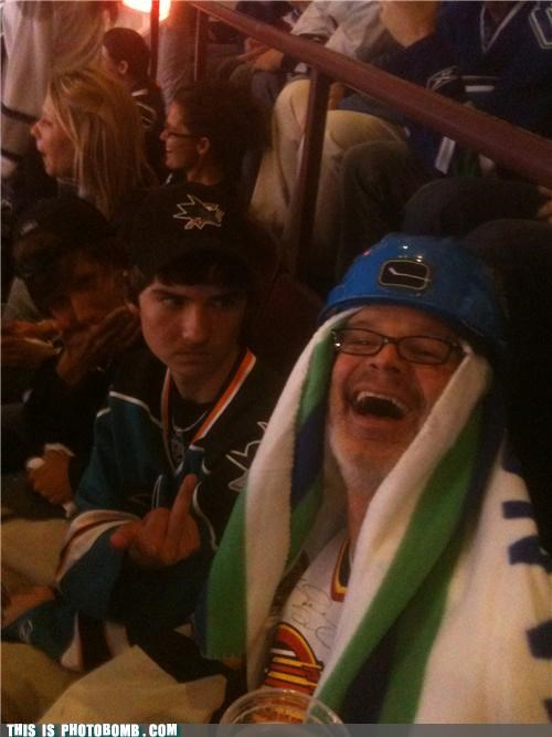 canucks,Good Times,hockey,middle finger,riot,sharks