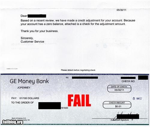 Refund Check Fail Refund check for one cent