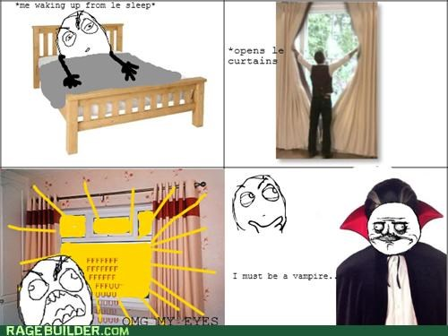 Rage Comics,sun,vampire,waking up