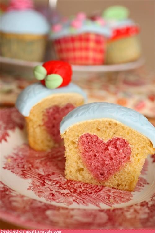 apple cupcakes epicute fondant heart hidden pink surprise