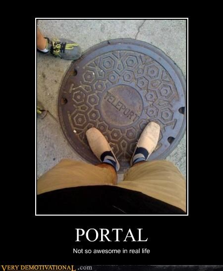hilarious IRL manhole Portal teleport video games