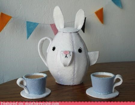 bunny cups fabric Plush tea teapot - 4842863872