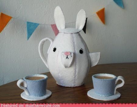 bunny cups fabric Plush tea teapot - 4842863872